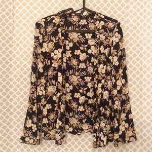 Zara Basics floral short kimono cardigan